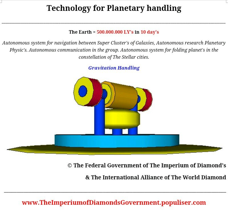 © Technology for planetary handling, create The Stellar City from Hundred's of planet's or mining center's from meteor's. Research, handling, system's for clima isolation, create Artificial star's.
