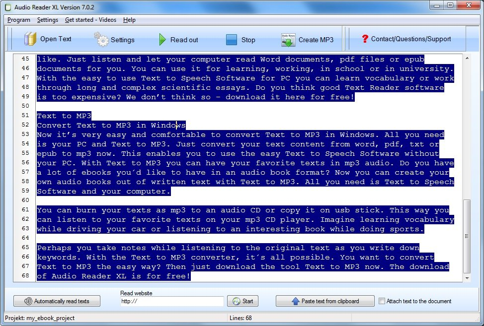 Easy to handle text to speech software with many functions - Larry